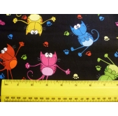 Timeless Treasures Bright Cats (per 1/4 metre)