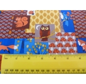 Woodland Animals Cotton Fabric (per 1/4 metre)