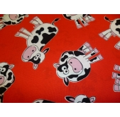 Cow on Red 100% Cotton Fabric (per 1/4 metre)