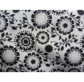 Large Floral/Leaves Black (per 1/4 metre)