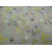 Swallow and Blooms on Lavender (per 1/4 metre)