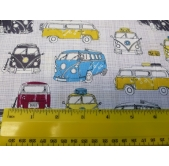 Cars, Bikes, Tractors, Transport Cotton Fabric